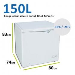 Congélateur bahut pour installation solaire 12 et 24 Volts 150L