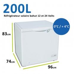 Réfrigérateur bahut pour installation solaire 12 et 24 Volts 200L